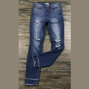 Good American Good Waist Layered Raw Hem Jeans